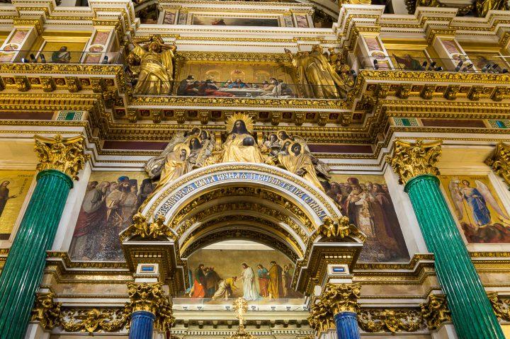 Pietarin Iisakinkirkko, pääalttarin koristelua