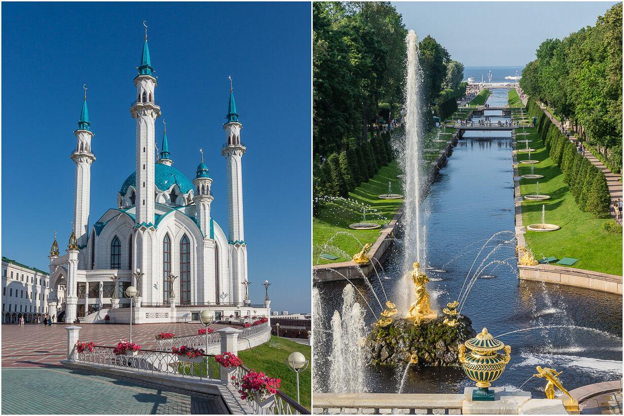 Venäjän e-viisumi koko Venäjälle, kuvassa Kazan ja Pietarhovi